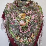 платок полушерсть с кистями павлопосадский 100х100, 90х90