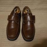 Легкие кожаные полуботинки цвета шоколада Clarks Extra Wide Англия 9,5