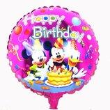Воздушный шарик из фольги Happy birthday с Микки и Минни Маусом