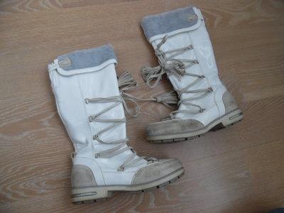 сапоги детские 22,5 см стелька белые сапоги лаковые GEOX Джеокс кожа замша фирменные