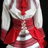 Украинский костюм вышиванка и юбка 98-152р.