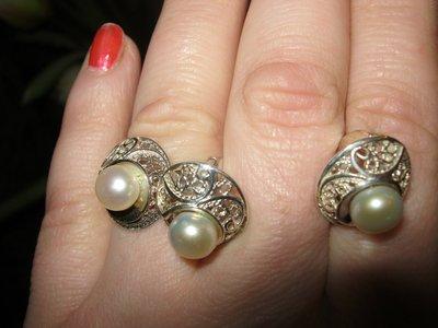 новый комплект из серебра и культивированного жемчуга