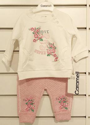 весенний хлопковый костюм на девочку3-12 месяцев Caramell