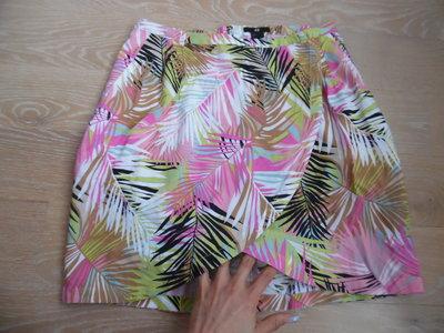 Юбка Женская 38 8 Короткая море лето город пальмы H&M НМ натуральная ткань