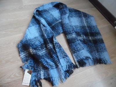 шарф теплый клетка синий голубой большой Accessorize хустка хомут новый с биркой модный