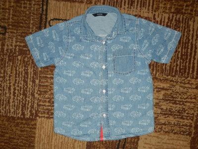 Джинсовая рубашка, тениска с машинкой 3-4