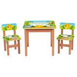 Деревянный столик с двумя стульчиками Животные F191