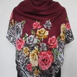 платок кашемировый турция цветы размер 90х90