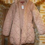 Новый пуховик Medoc пудрового цвета с поясом. Зимняя куртка, пальто