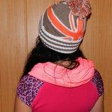Шапка новая женская с бубоном коричневый с оранжевым на Ог 54-56 см.