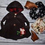 12 месяцев Фирменное Красивенькое классическое пальто для девочки вельвет совушка
