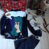 S-M by koko4ka ручная роспись одежды джинсовка джинсовая куртка с принтом