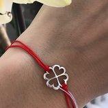 Браслет серебряный Красная нить Клевер на удачу 4050 4081