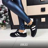 Женские кеды кроссовки полоски на шнурках