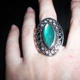 кольцо женское безразмерное глаз зелёный самоцвет