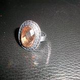 кольцо безразмерное чешское стекло янтарный
