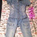 джинсовка джинсовая курточка тениска капри бриджи костюм 44-46-48 р