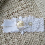 Нежная повязка ручной работы Молочно-Белая