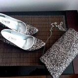 Набор шикарный туфли 38размер 24,5см и сумочка
