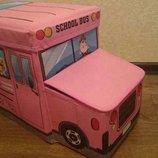 Ящики-Сидения для игрушек в виде автобуса. Замечательный органайзер в комнате