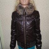Бомбезная кожаная куртка Bershka 12-13л 152-158см Мега выбор обуви и одежды