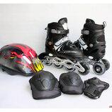 Ролики Combo Heppy black, набор защиты, шлем, оси. Черный