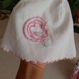 Шапка шапочка Тосі белая для девочки, размер 50, 4-5 лет, хлопок, легкая шапочка