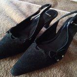 туфли на каблуке с открытой пяткой Lloyd, черные, замша, 39, новые