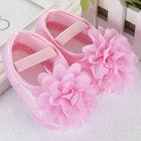 Красивые нарядные пинетки балетки на девочку розовые