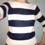 Полосатый свитерок с открытыми плечами, размер Хс-С, наш 42