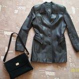 Пиджак, куртка, женский, кожаный. Чёрный. Размер 46-48