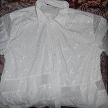 Красивая белая блузка, размер 58 больше похож на 52