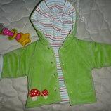 Курточка демі утеплена мягкий велюр 3-6м
