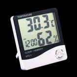 Метеостанция термометр часы гигрометр HTC-1