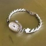 Часы с браслетом женские Луч мельхиор филигрань , 17 камней, Ссср