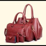 Набор сумок под крокодил для деловых женщин, 5в1 В Наличии
