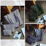 Набор 3в1 JingPin , сумка-мешок, клатч и косметичка В Наличии