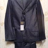 р.140-158 Нарядный костюм DENIM серо-синий