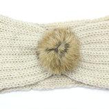 Теплая повязка на голову. Ушки в тепле. Шерсть и кролик. Молочный цвет
