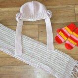 Комплект шапка, шарф варежки девочке Loman Польша 46-50 см 3-5 лет