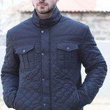 Демисезонная стеганная куртка, цвета синий, серый, черный, размеры 52-62