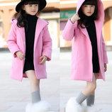 Детское кашемировое пальто для девочки с капюшоном