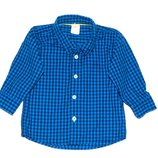 Синяя, черная рубашка, в клеточку, 3-6 мес., 68 Отличное сотояние