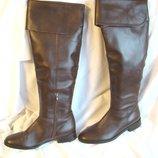 Сапоги женские ботфорты кожаные демисезонные высокие коричневые Next размер 38