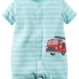 Ромпер Carters голубой Пожарная машинка для мальчика песочник