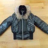 Фирменная Стильная Куртка-Пуховик Extreme р-р 6 7 116-128 лет.С натуральным мехом.