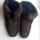 Тапочки тапки меховые натуральный мех и кожа р.42 новые