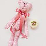 Розовый мишка тильда оригинальный подарок на день Святого Валентина