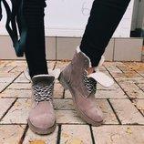 Черевики, ботинки на шнуровке из натуральной замши