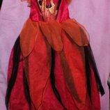 Карнавальное новогоднее платье королевы огня на 6-7лет